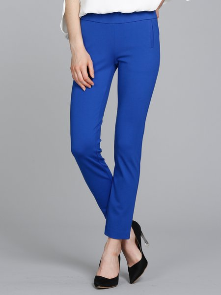 Blue Pockets Plain Simple Skinny Leg Pants