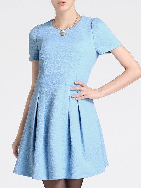 Blue A-line Folds Elegant Plain Mini Dress