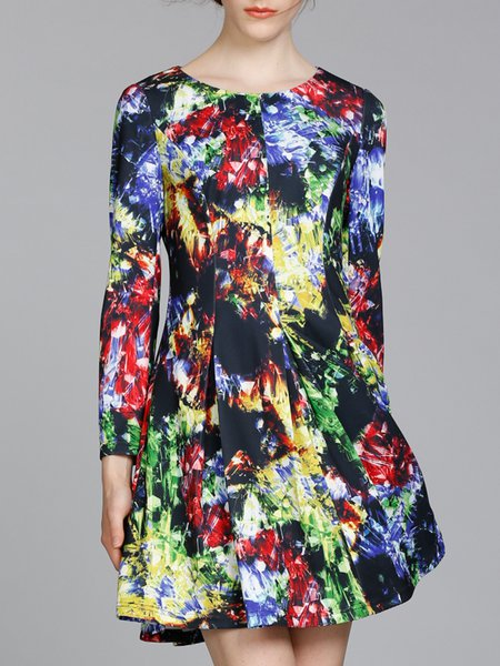 Multicolor Crew Neck Printed Folds Long Sleeve A-line Mini Dress