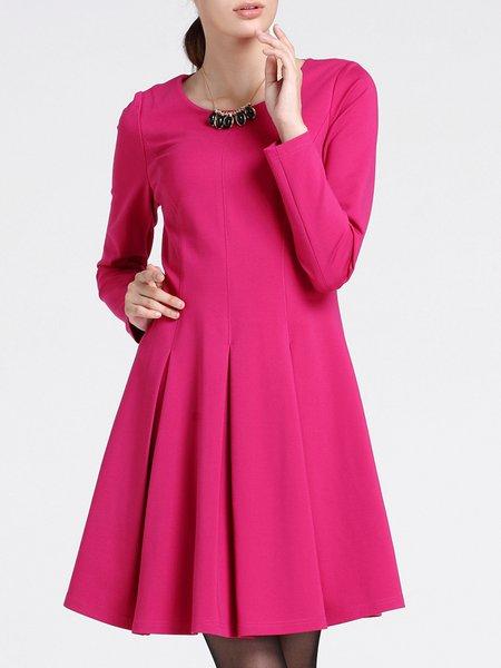 Fuchsia Crew Neck Simple Plain Folds Mini Dress
