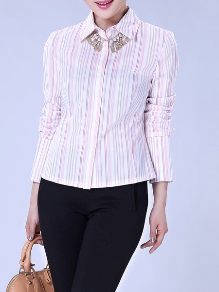 Pink Cotton-blend Printed Stripes Long Sleeve Blouse