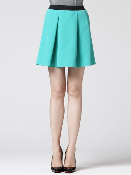 Blue Plain Simple Folds Mini Skirt