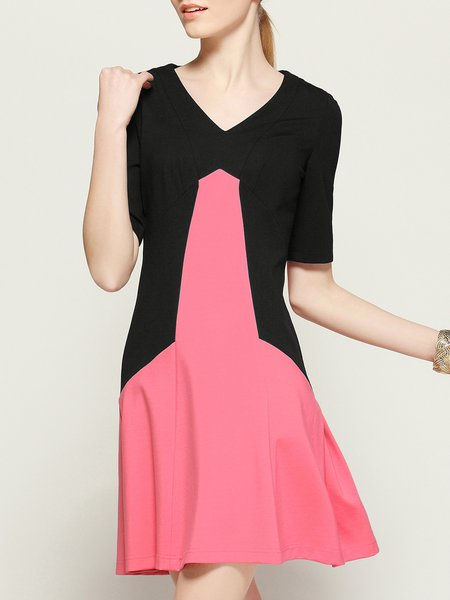 Black A-line Elegant V Neck Color Block Simple Mini Dress