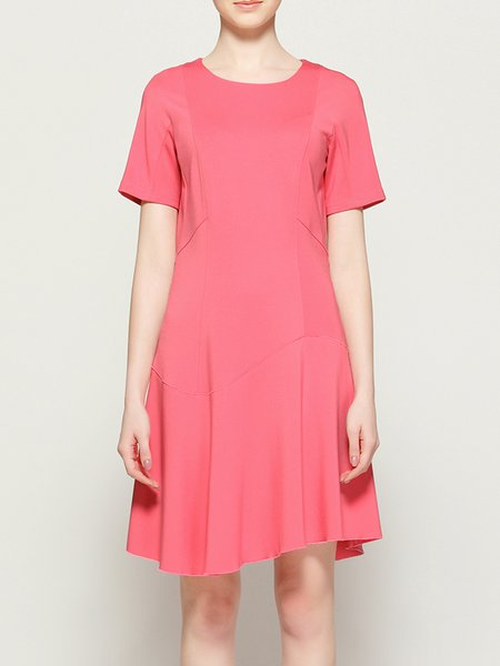 Pink Crew Neck Ruffled Short Sleeve Plain Simple Midi Dress