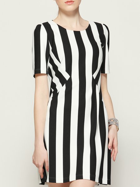 White Printed Simple Stripes A-line Mini Dress