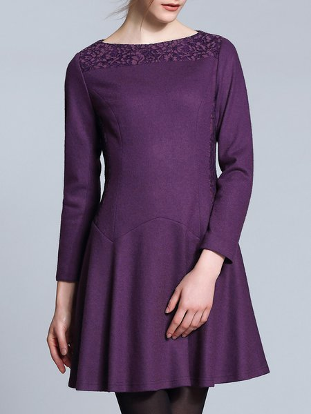 Purple Simple Crew Neck Lace Paneled Mini Dress