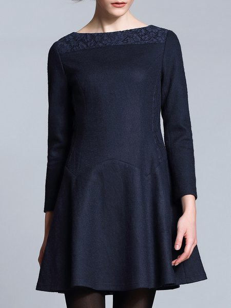 Dark Blue Paneled Crew Neck Casual Plain Mini Dress