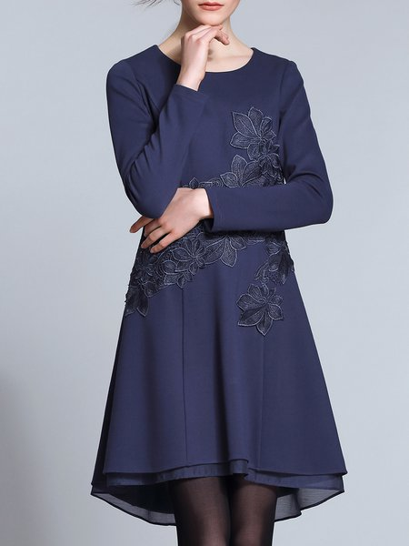 Long Sleeve Simple Asymmetric Appliqued Midi Dress