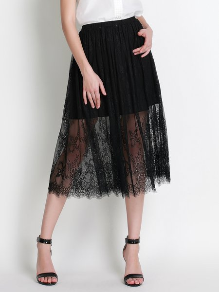 Black Polyester A-line Girly Lace Paneled  Midi Skirt