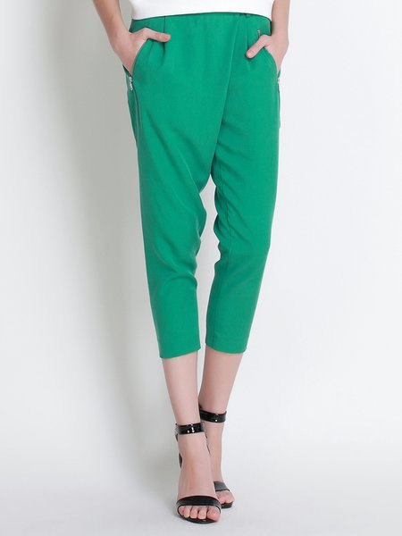Green Polyester Simple Plain Straight Leg Pants