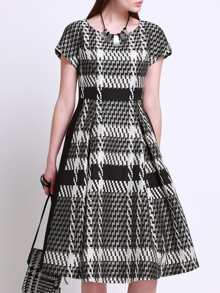 Geometric Printed A-line Short Sleeve Simple Pockets Midi Dress