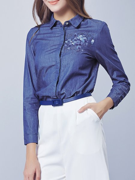 Blue Floral Denim Embroidered Blouse