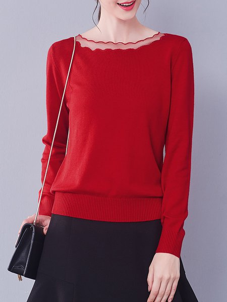 Rose Red Knitted Wool Blend Basic Sweater
