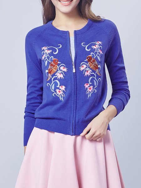 Crew Neck Cotton Vintage Long Sleeve Embroidered Cardigan