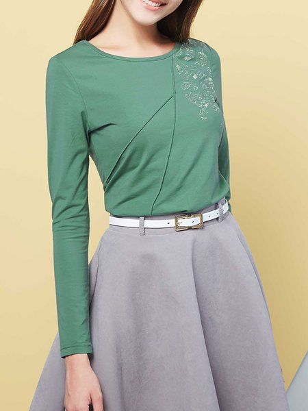 Green Floral Embroidered Cotton-blend Long Sleeve H-line T-Shirt