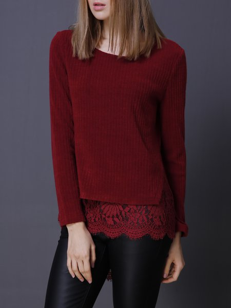 Long Sleeve Asymmetrical Lace Paneled Casual Sweater