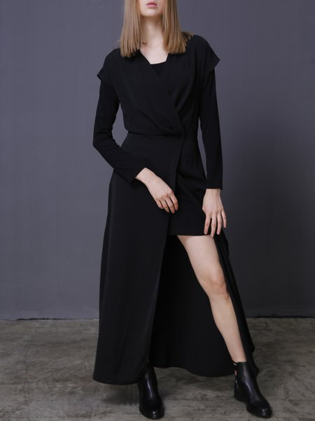 V Neck Casual Two Piece Long Sleeve Maxi Dress