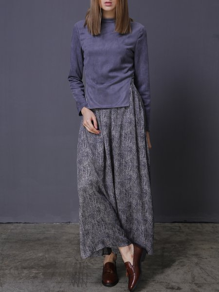 Gray Long Sleeve Polyester Stand Collar Two Piece Maxi Dress