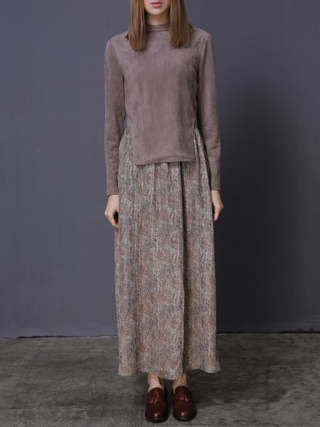 Casual Printed Polyester Long Sleeve Stand Collar Two Piece Maxi Dress