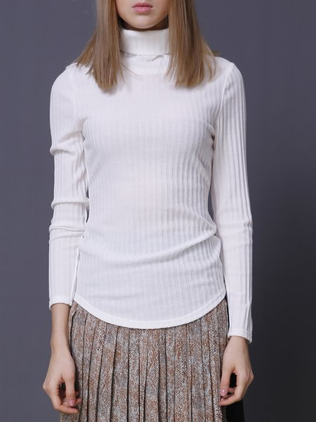 White Turtleneck Long Sleeve Plain Knitted Sweater