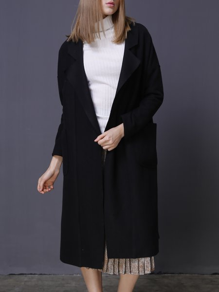 Black H-line Pockets Plain Simple Open Collar Cashmere Coat