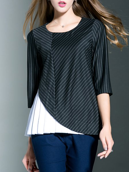 Polyester Simple Crew Neck Stripes Long Sleeved Top