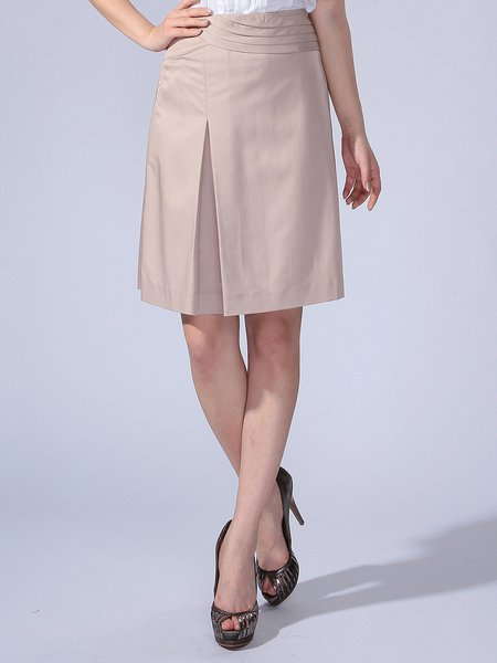 Camel Simple Viscose Plain Folds Midi Skirt