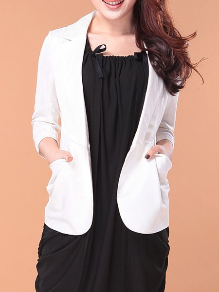 White Simple Linen Plain Pockets Blazer