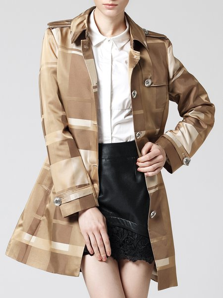 Camel Long Sleeve Printed Polyester Trench Coat with Belt