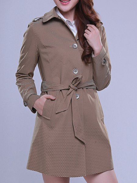 Camel Lapel H-line Long Sleeve Trench Coat with Belt