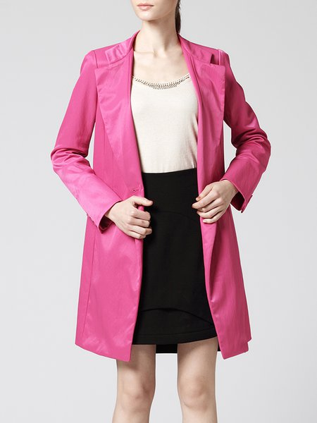 Red Plain Lapel Long Sleeve Simple Coat