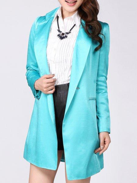 Blue Lapel Simple Polyester Plain Coat