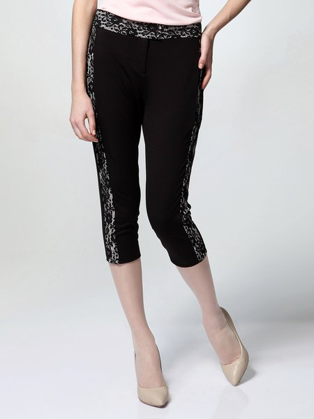 Black Simple Lace Paneled Plain Skinny Leg Pants