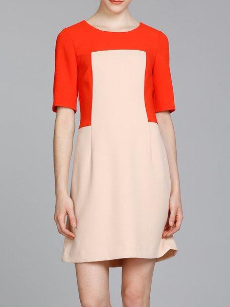 Camel Color-block Half Sleeve A-line Mini Dress