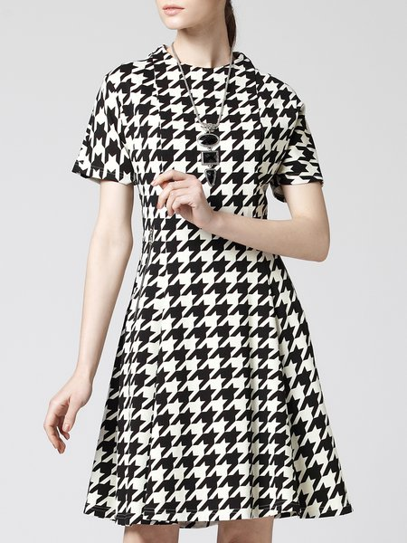 Black Stand Collar Houndstooth Short Sleeve A-line Midi Dress