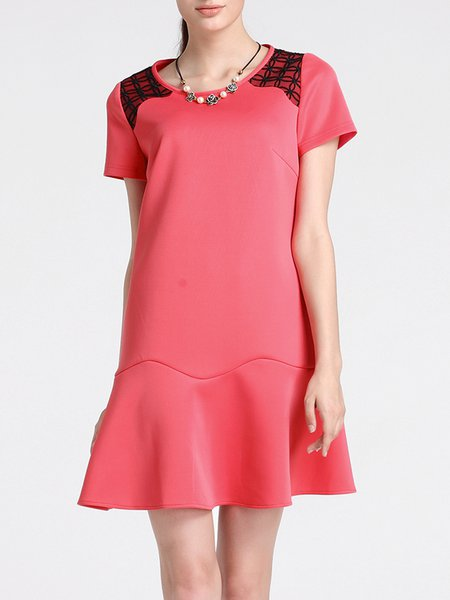 Red Short Sleeve Ruffled A-line Lace Paneled Mini Dress