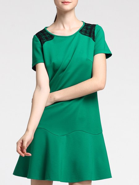 Green Lace Paneled Simple Ruffled Mini Dress