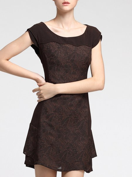 Coffee Crew Neck Elegant Tulle Paneled A-line Mini Dress