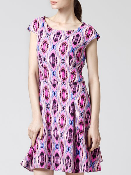 Red A-line Short Sleeve Printed Mini Dress