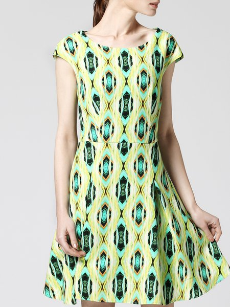 Green Crew Neck Geometric Print Short Sleeve  Mini Dress