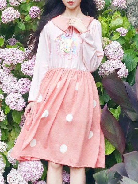 Pink Printed Peter Pan Collar Long Sleeve Midi Dress