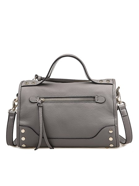Solid Cowhide Leather Small Casual Zipper Satchel