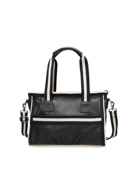 Black Medium Casual Cowhide Leather Satchel