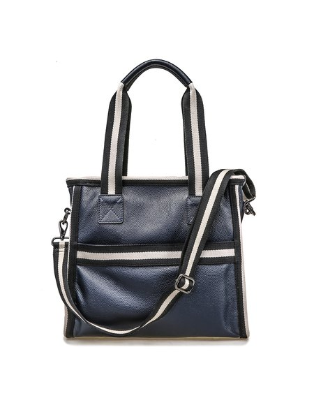 Dark Blue Cowhide Leather Medium Top Handle