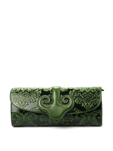 Dark Green Retro Magnetic Embossed Cowhide Leather Shoulder Bag