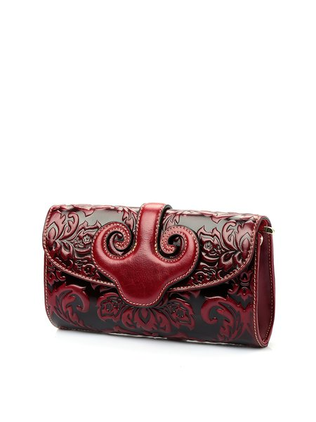 Embossed Cowhide Leather Retro Magnetic Clutch