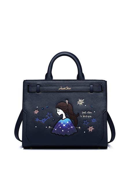 Dark Blue Embroideried PU Sweet Small Satchel