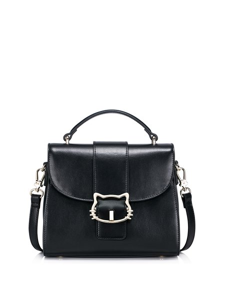 Black Sweet PU Magnetic Satchel