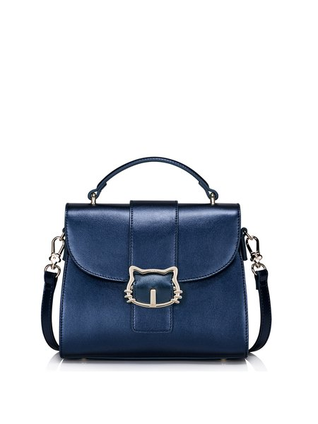 Dark Blue Sweet Magnetic PU Satchel