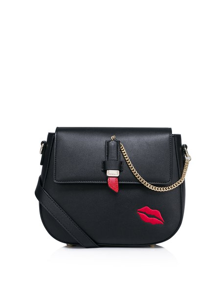 Black Sweet Lips Embroideried Zipper Crossbody Bag